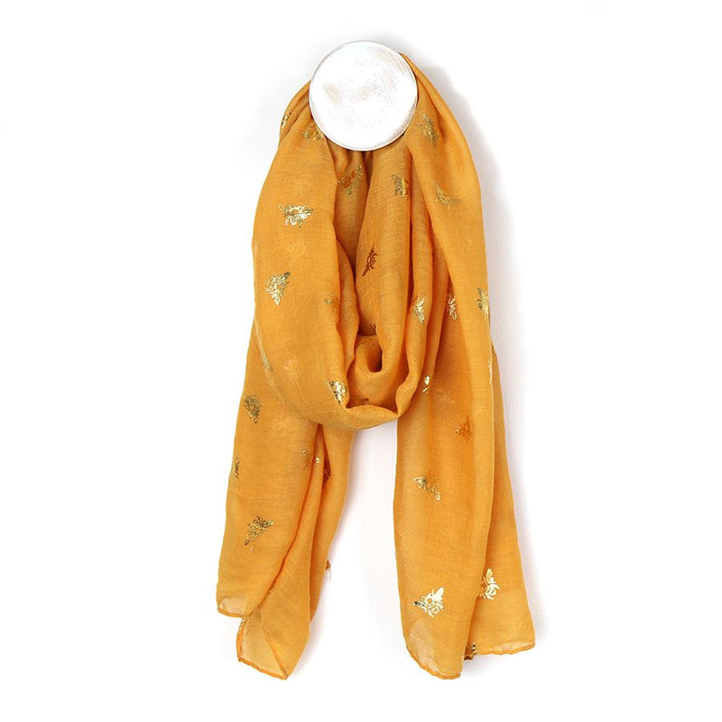 Mustard Yellow With Gold Foil Bee Print