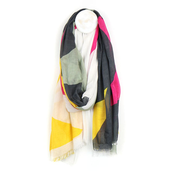 Pink, grey and yellow mix giant star print scarf