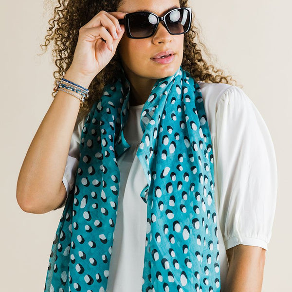 Teal scarf with white dot and shadow print
