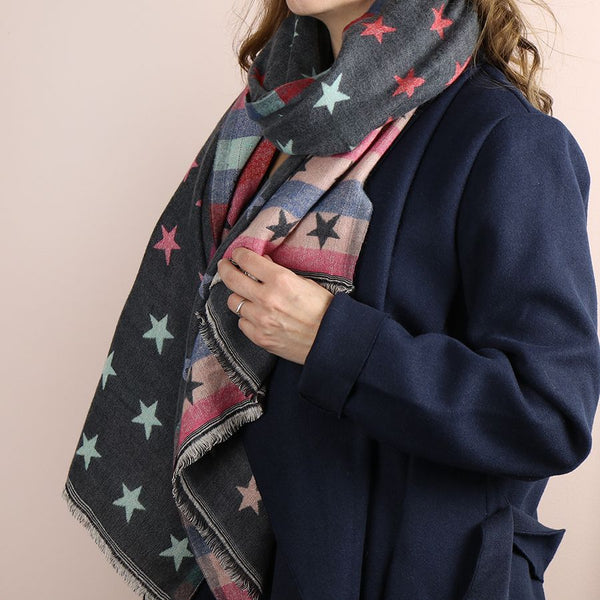 Grey and pastel reversible jacquard star scarf