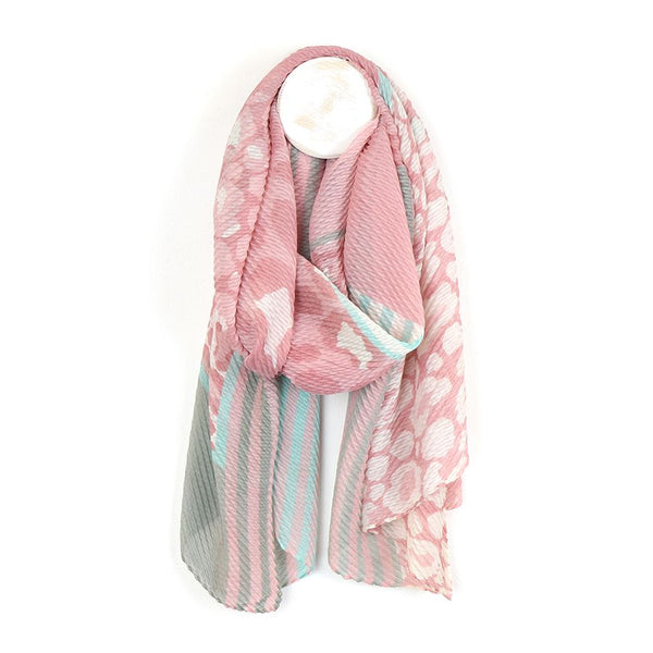 Pink and grey crinkle scarf with mixed prints