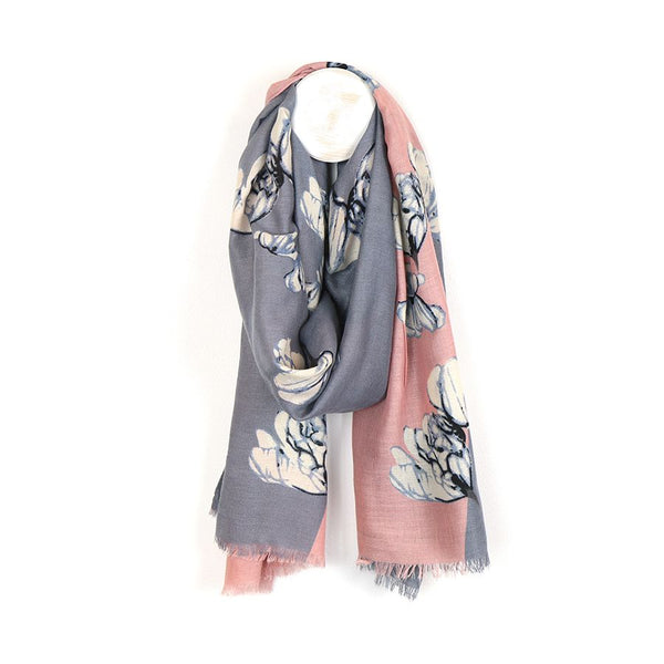 Diagonal pink and grey floral scarf