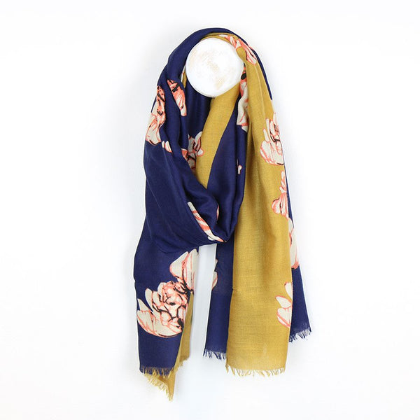 Diagonal navy and mustard floral scarf