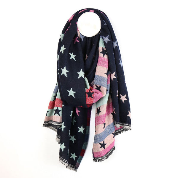 Navy blue and pastel stripe scarf with jacquard stars