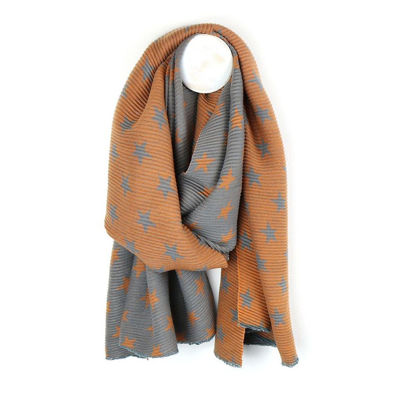 Orange and grey reversible pleated star scarf