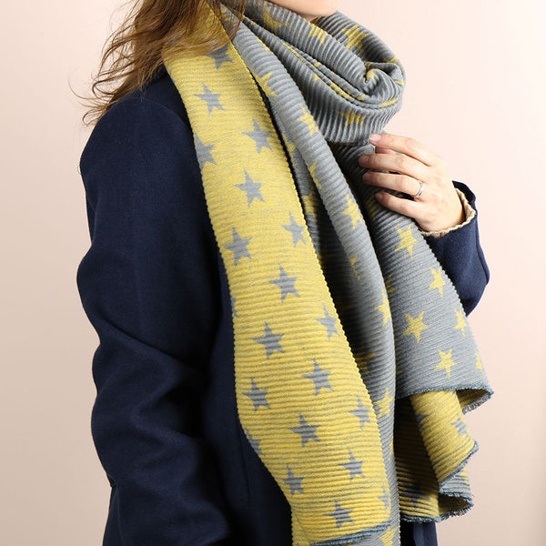 Mustard and grey reversible pleated star scarf