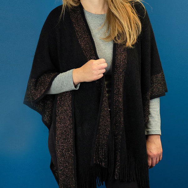 Black knitted winter wrap with metallic gold