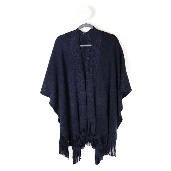 Blue knitted winter wrap with metallic blue