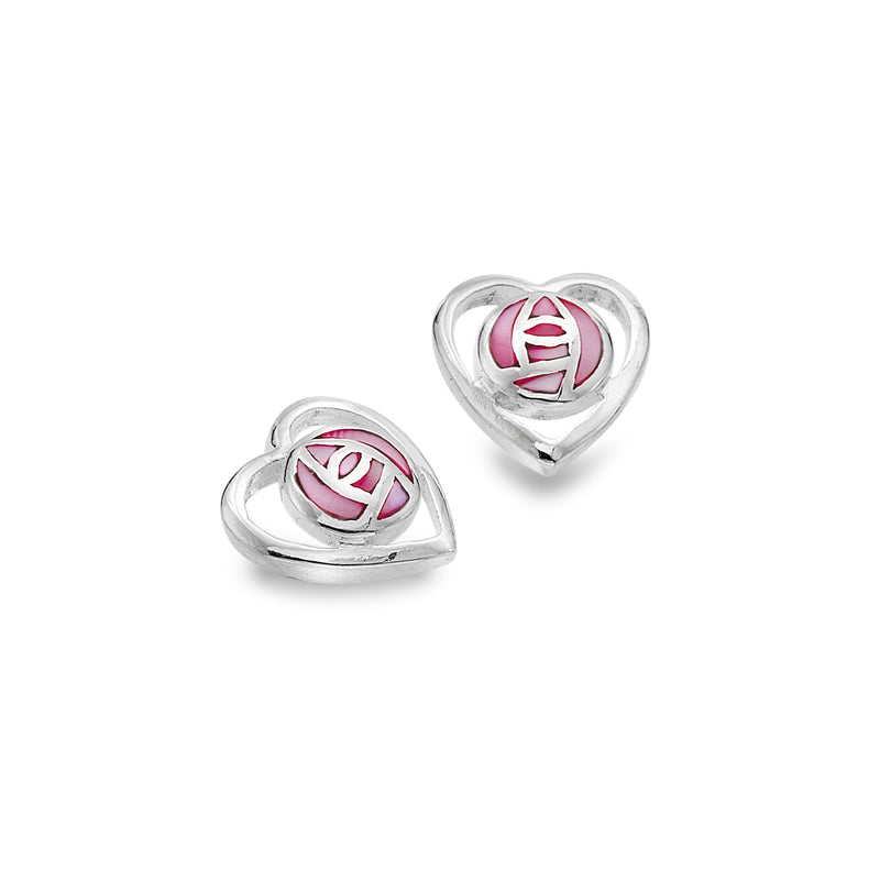 Mackintosh - Mother of Pearl Pink Rose Heart Studs
