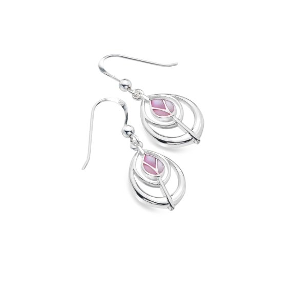 Tulip Silver & Pink Mother Of Pearl Earrings