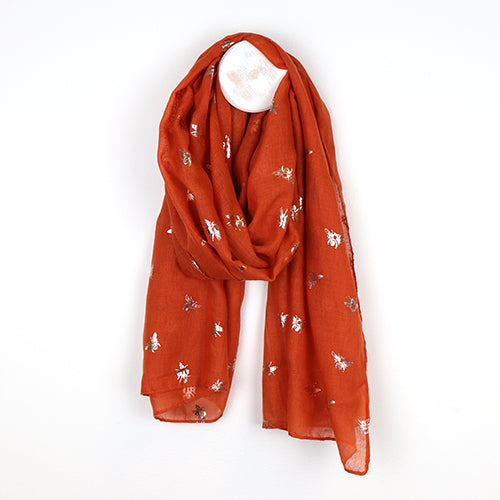 Orange Scarf with Metallic Bee Print