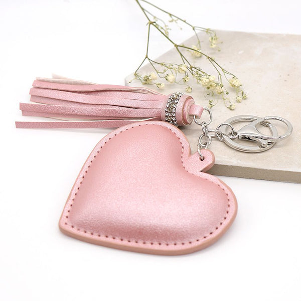Pink Heart Shaped Tassel Keyring