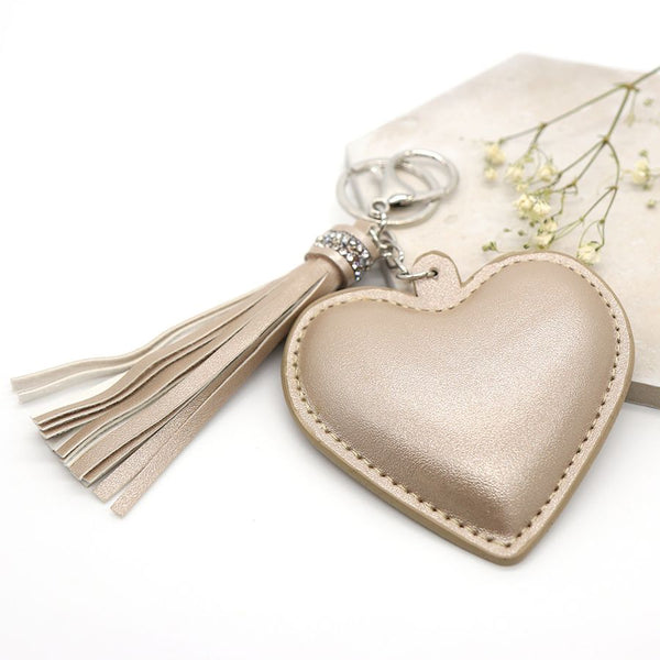 Champagne Heart Shaped Tassel Keyring