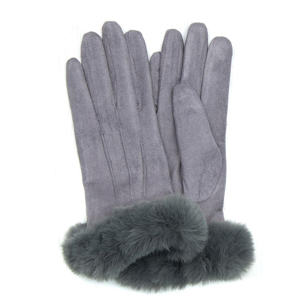 Grey Gloves With Faux Fur Trim