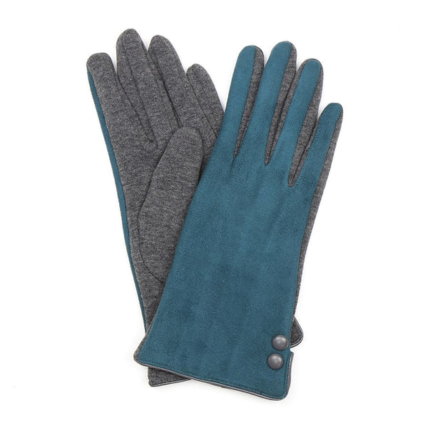 Teal and grey faux suede button gloves