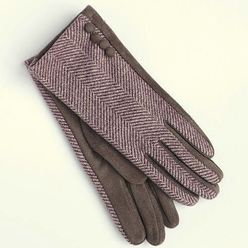 Pink Herringbone Gloves With Button Detail