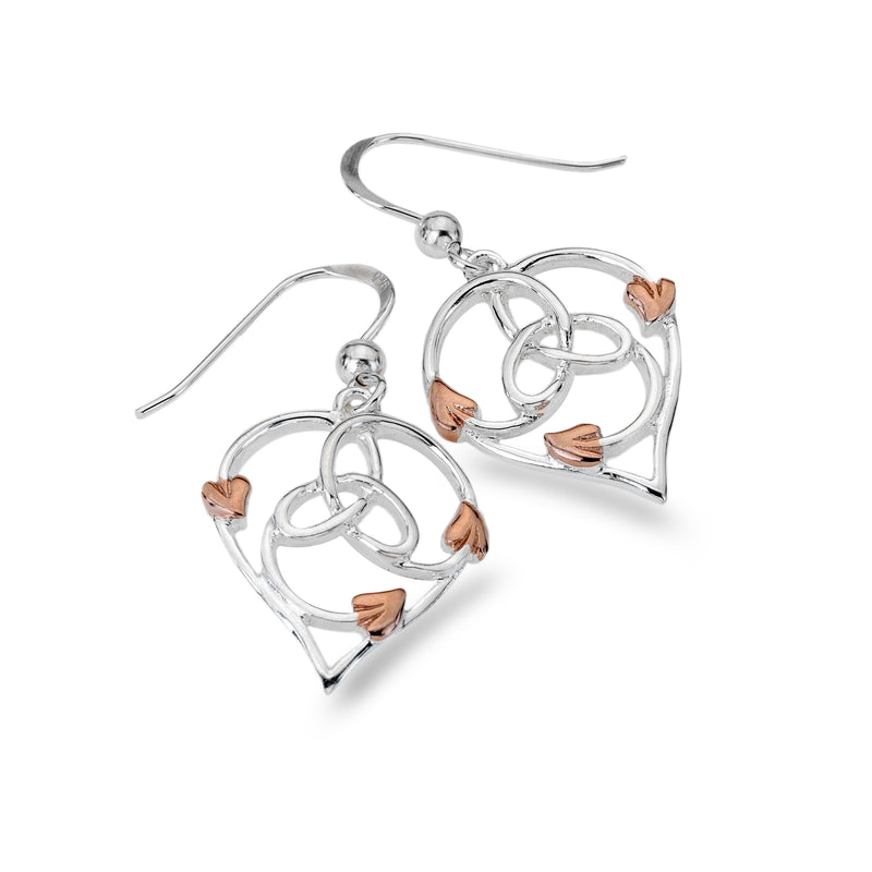 Hearts And Rose Gold Leaves Earrings
