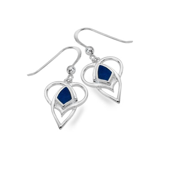 Celtic Heart Shaped Lapis Lazuli Earrings