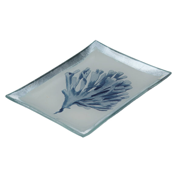 Gisela Graham - Medium Blue Coral Glass Plate