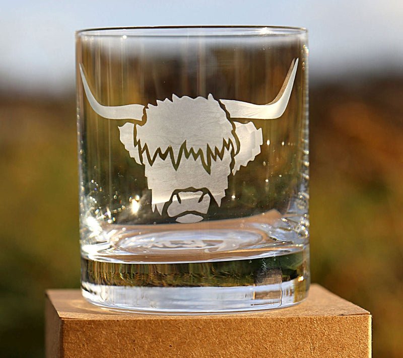 Angus Highland Cow Hand Etched Crystal Whisky Tumbler