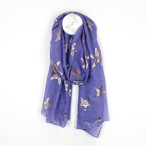 Purple Scarf With Metallic Starfish Print
