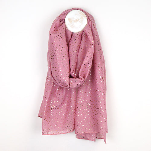 Pink Scarf With Metallic Spot Print