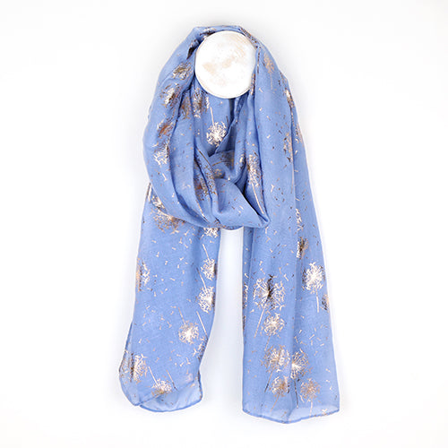 Blue Scarf with Metallic Dandelion Print