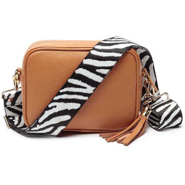 Tan Leather Handbag With Zebra Print Strap