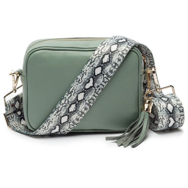 Mint Leather Handbag With Python Print Strap