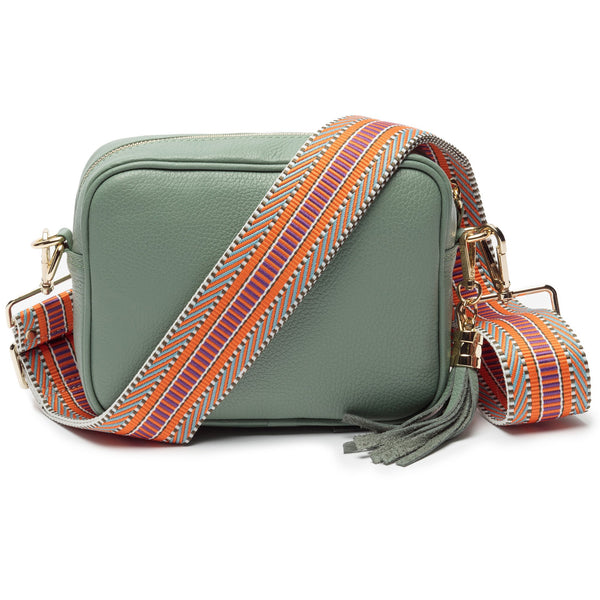 Mint Leather Handbag With Aztec Strap