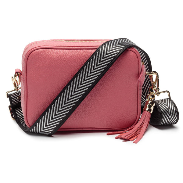 Strawberry Leather Handbag With Chevron Silver Strap