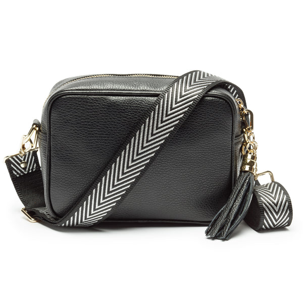 Black Leather Handbag With Chevron Silver Strap