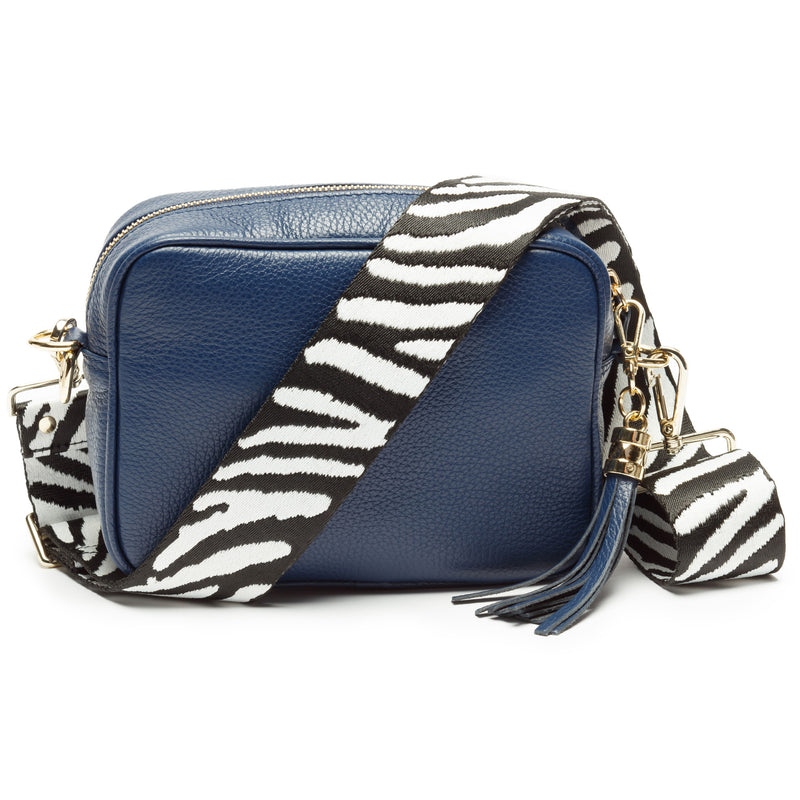Navy Leather Handbag With Zebra Pattern Strap