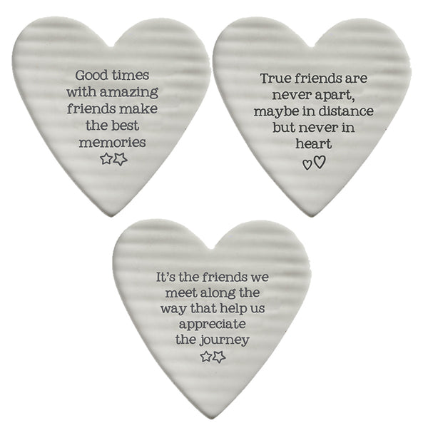 Ceramic Heart Shaped Coaster With Sentimental Quote