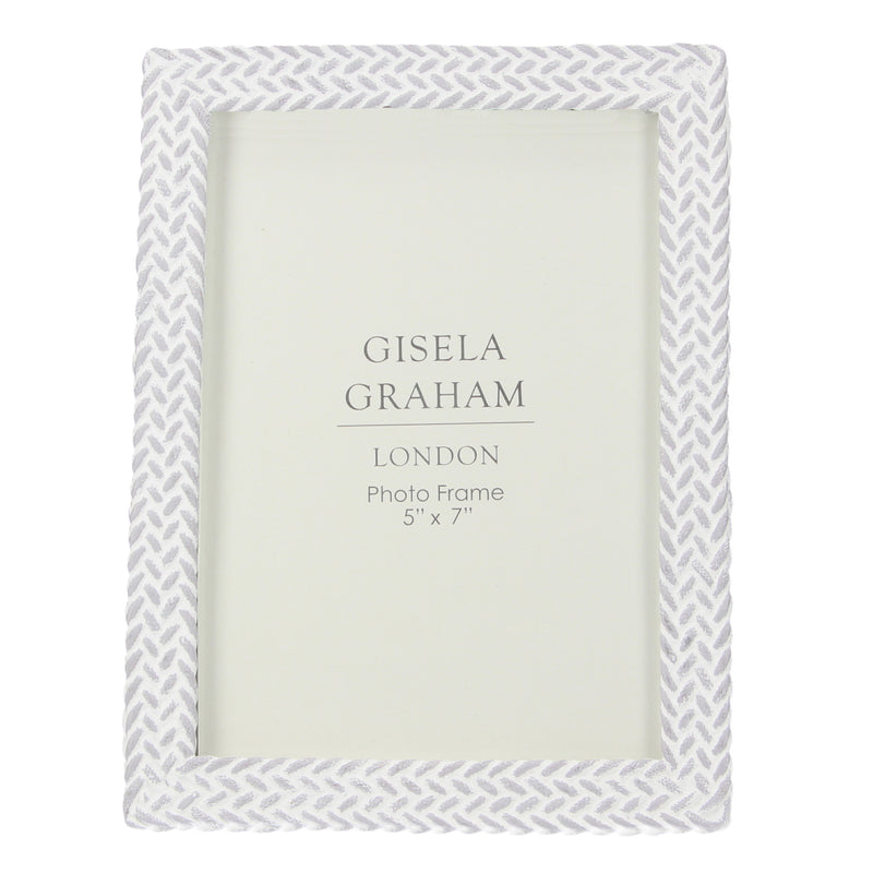 Gisela Graham - Grey/White Weave Effect Frame (5x7)