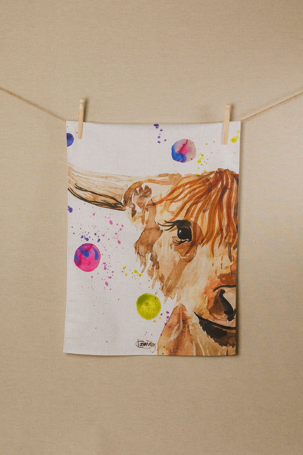 Highland Cow Water Colour Tea Towel