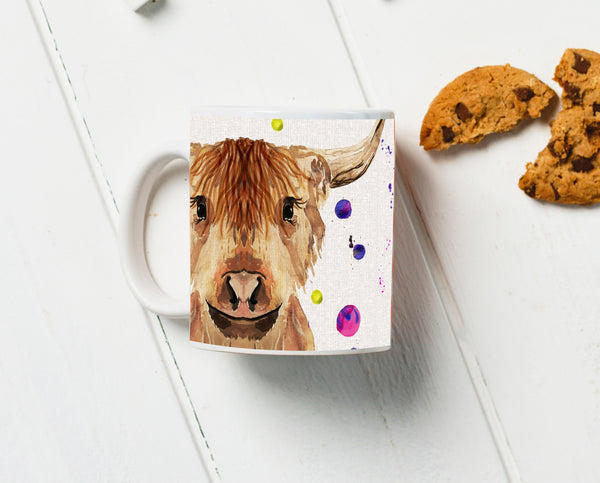 Highland Cow Water Colour Mug