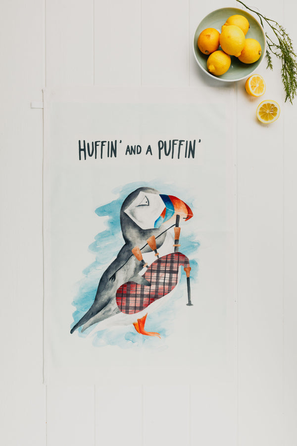 Huffin And A Puffin Tea Towel