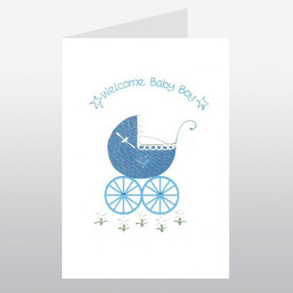 Blue Pram New Baby Card