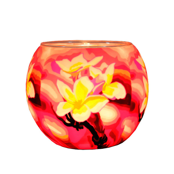 Glowing Glass Tea Light Holder, Magnolias