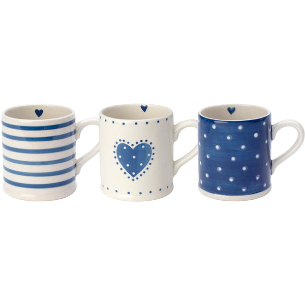 Shabby Chic Style Mugs With Blue Patterns