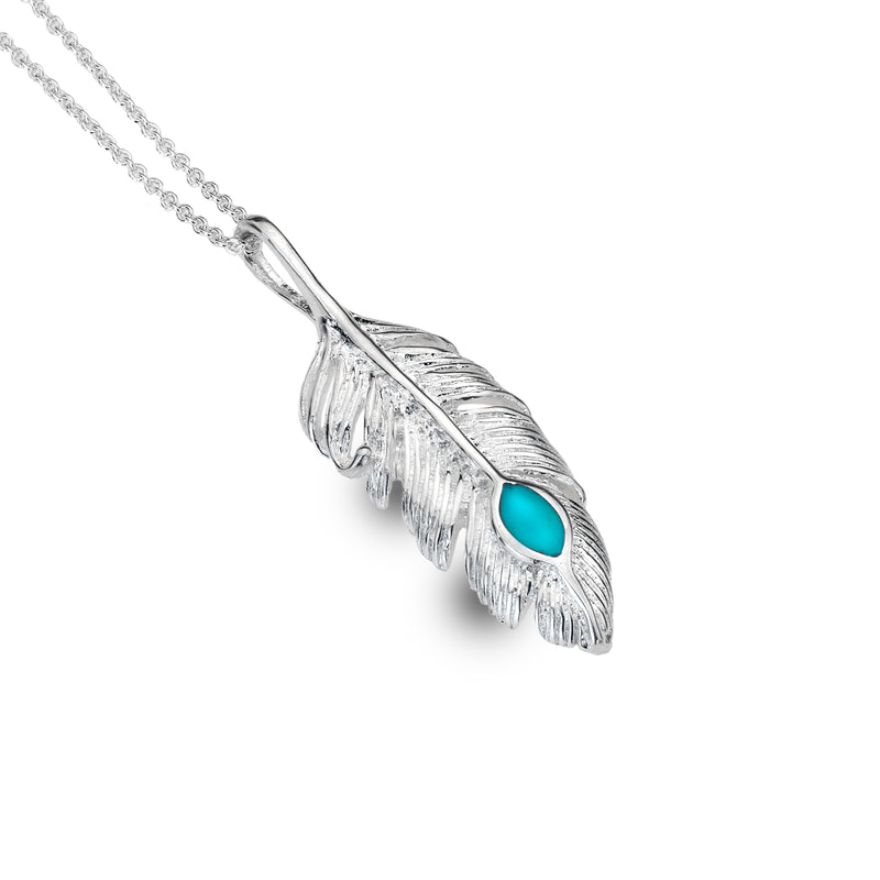 Silver Origins - Turquoise Free Spirit Feather Pendant