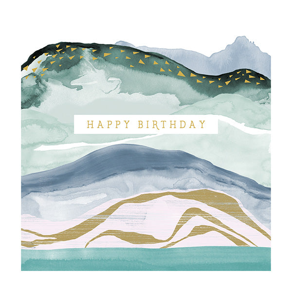 Happy Birthday - Abstract Waves Card