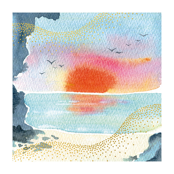 Sunset Over Sea Card