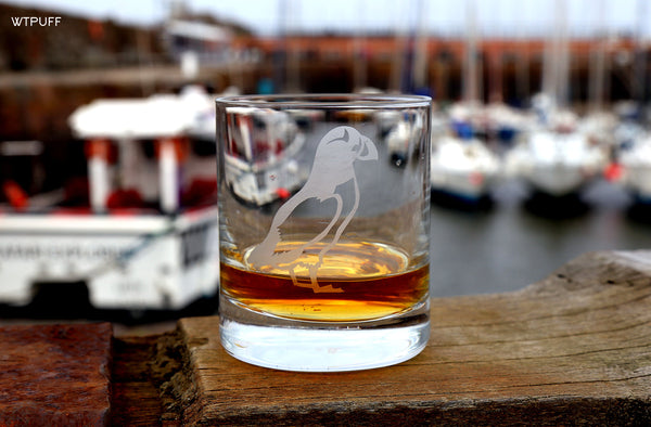 Puffin Hand Etched Crystal Whisky Tumbler