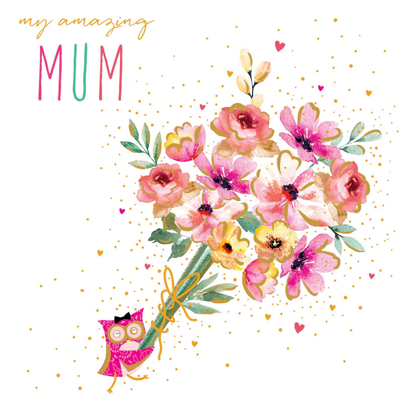 Amazing Mum Owl Bouquet Card