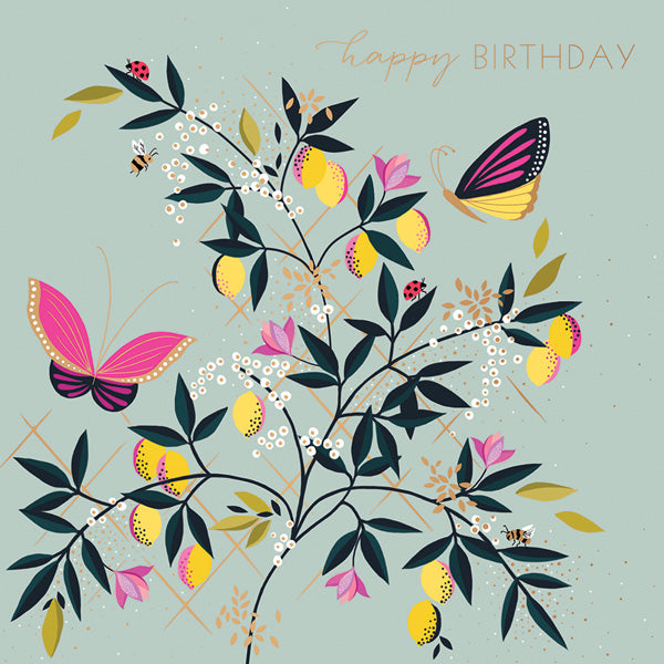 Happy Birthday -Butterflies And Lemons Card