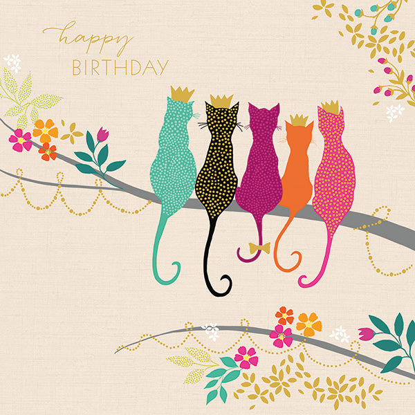 Happy Birthday - Crowned Cats Card