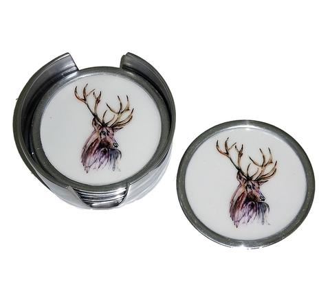 Set of 6 Coasters - Stag