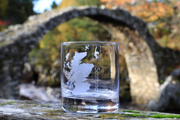 Scotland Hand Etched Crystal Whisky Tumbler
